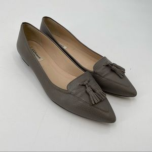 L.k Bennett pointed toe flat leather shoes grey